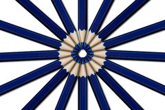 Blue pencils. In a circle on white background royalty free stock images