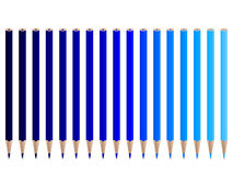 Blue pencils. Set of pencils. Vector illustration Stock Images