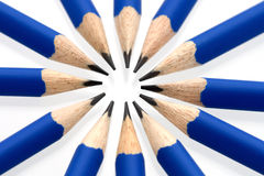 Blue pencils in a circle - close up Royalty Free Stock Photo