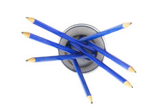 Blue pencils closeup Stock Images