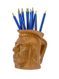 Blue pencils in Indian cup. A lot of blue pencils in Indian cup Stock Photos