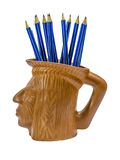 Blue pencils in Indian cup. A lot of blue pencils in Indian cup Royalty Free Stock Photo