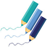 Blue pencils. With blue letters Stock Image