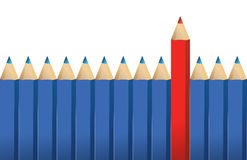 Blue pencils and one red crayon. Standing out from the crowd illustration Stock Image