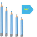 Blue pencils on a white background Royalty Free Stock Photos