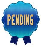 Blue PENDING ribbon badge. Illustration graphic design concept image Stock Photography