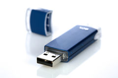 Blue pendrive on white background Royalty Free Stock Images