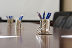 Blue pens. Waiting important significant meeting Royalty Free Stock Photos