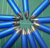 Blue pens of my office royalty free stock photos
