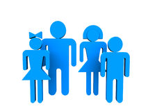 Blue people 3d. Logotype 3d family blue people over white Royalty Free Stock Photography