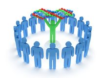 Blue people around green man with DNA chain. 3D. Royalty Free Stock Photo