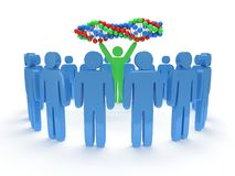Blue people around green man with DNA chain. 3D. Stock Image