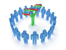 Blue people around green man with DNA chain. 3D. Stock Photos