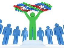 Blue people around green man with DNA chain. 3D. Stock Photo