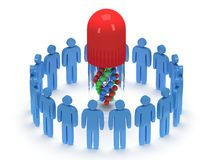Blue people around pill DNA chain. 3D render. Royalty Free Stock Image