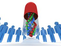 Blue people around pill DNA chain. 3D render. Stock Photo