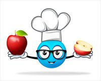Blue people chef with apple Royalty Free Stock Images