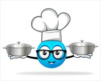 Blue people chef with  pot Royalty Free Stock Photography