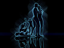 Blue people crying. 3D Illustration of a cupple of blue people royalty free illustration