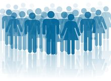 Blue people silhouettes Royalty Free Stock Image