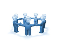 Blue people working team with bulb abstract idea Royalty Free Stock Photos