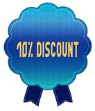 Blue 10 PERCENT DISCOUNT ribbon badge. Illustration graphic design concept image royalty free illustration