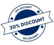 Blue 20 PERCENT DISCOUNT stamp. Illustration graphic concept image stock illustration