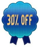 Blue 30 PERCENT OFF ribbon badge. Illustration graphic design concept image Royalty Free Stock Photos