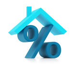 Blue percent sign under roof () royalty free stock images