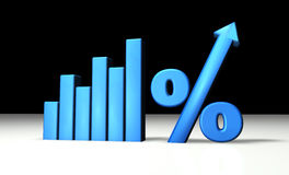 Blue Percentage Graph. Blue growing graph with percent and up-arrow symbols Stock Photography