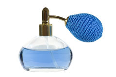 Blue perfume bottle Royalty Free Stock Photos