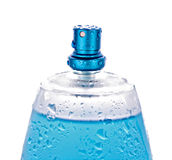 Blue perfume bottle Royalty Free Stock Images