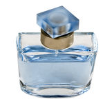 Blue perfume bottle Royalty Free Stock Images