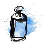 Blue perfume bottle sketch. Stock Photos