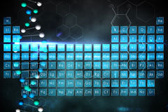 Blue periodic tablet with DNA strand Stock Images