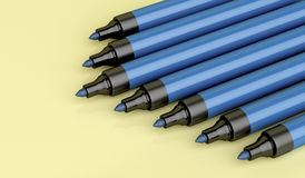 Blue permanent markers Royalty Free Stock Images