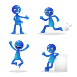 Blue Person Activity 1. 4 different mascot activity Stock Photos