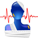 Blue person injured Royalty Free Stock Image