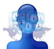 Blue person with international friends Royalty Free Stock Photo