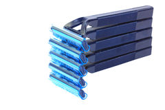 Blue personal plastic disposable razors Royalty Free Stock Photo