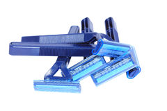 Blue personal plastic disposable razors Stock Photo