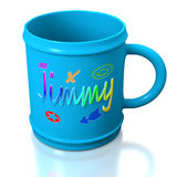 Blue personalized plastic mug Royalty Free Stock Photo