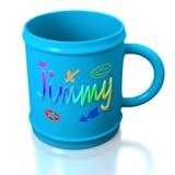 Blue personalized plastic mug Royalty Free Stock Photo