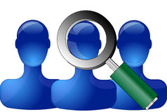 Blue persons with magnifying glass Stock Images