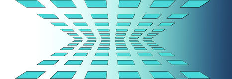 Blue Perspective Squares. Top and bottom on blue gradient background Royalty Free Stock Photo