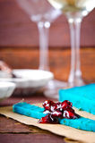 Blue pesto cheese with herbs, pomegranate jam and sauces on wooden rustic background Stock Photo