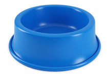 Blue pet bowl. Isolated on white background. 3D rendering of the dog or cat empty plate Royalty Free Stock Photo