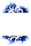 Blue petals frame. Transparent blue petals on a white background. Abstract background with place for text Stock Images
