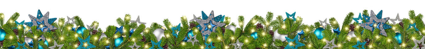 Blue petrol silver christmas garland super wide fir branches pan. Christmas garland super wide panorama banner with fir branches blue petrol turquoise  silver Stock Images
