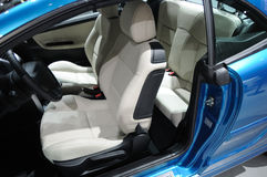 blue Peugeot 207cc Sport car interior Stock Photo